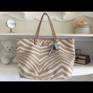 COACH Park Metro Zebra Large Leather Tote Bag
